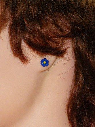 Boucle d'oreille fleur en fimo
