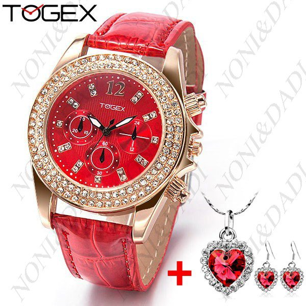 TOGEX Quartz Rhinestones Women Watch + MARCAS Heart Shaped Necklace + Pair of Earrings Jewelry Kit