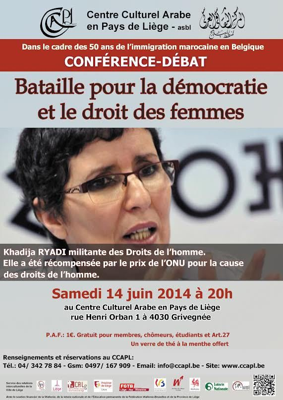 Liège : conférence-Débat « Batailles pour la démocratie et le droit des femmes » Avec Khadija Ryadi - Last night in Orient