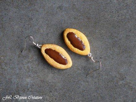 Boucle d'oreille biscuit au chocolat en fimo Argent 925