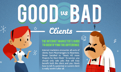 just free learn : THE INTERNET MARKETER'S GUIDE TO GOOD VS. BAD CLIENTS #INFOGRAPHIC