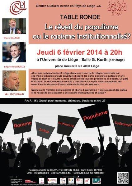 « Le réveil du populisme ou le racisme institutionnalisé ? », le jeudi 6 février à 20h, à l'Université de Liège.
