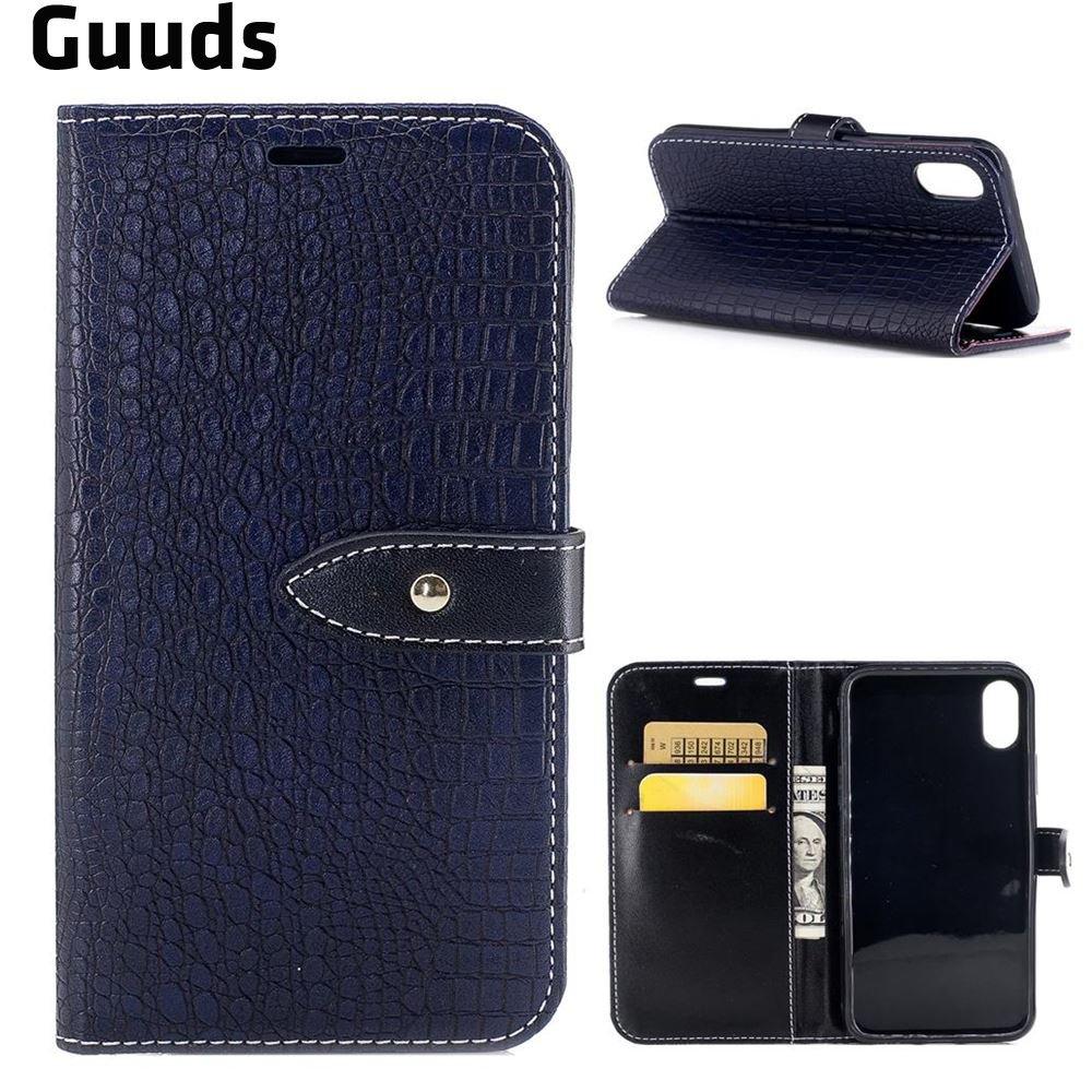 Для iPhone X кожаный чехол Премиум Ретро из искусственной кожи под крокодила кожаный бумажник чехол для iphonex 5.8 ...