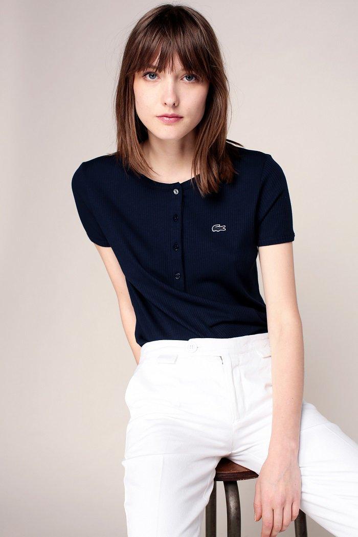 Lacoste T-shirt côtelé marine patch logo brodé - T-Shirt Femme Monshowroom - Ventes-pas-cher.com