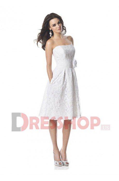 Sleeveless Natural Short/Mini Flowers Zipper Bridal Dresses - DresShop.US