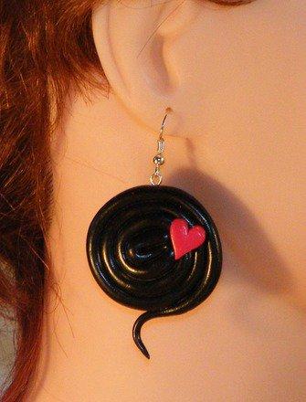 Boucle d'oreille réglisse en fimo Argent 925 : Boucles d'oreille par jl-bijoux-creation