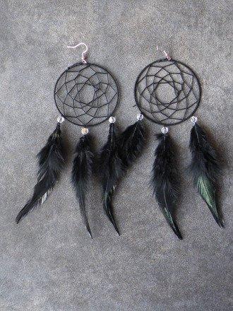 Boucle d'oreille attrape rêve noir Argent 925 : Boucles d'oreille par jl-bijoux-creation
