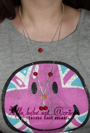 Sautoir chaine double perles shamballa rouge