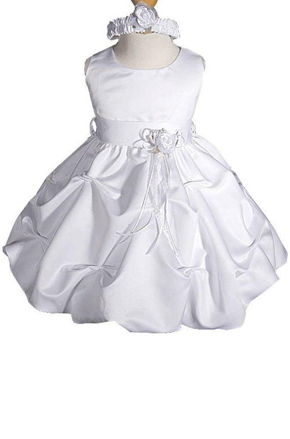 White Flower Girl Dress Communion Dress Sizes 2 to 14 Satin Dress