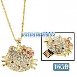 Disque Flash USB Hello Kitty Diamants 16 Go - Lutintronics