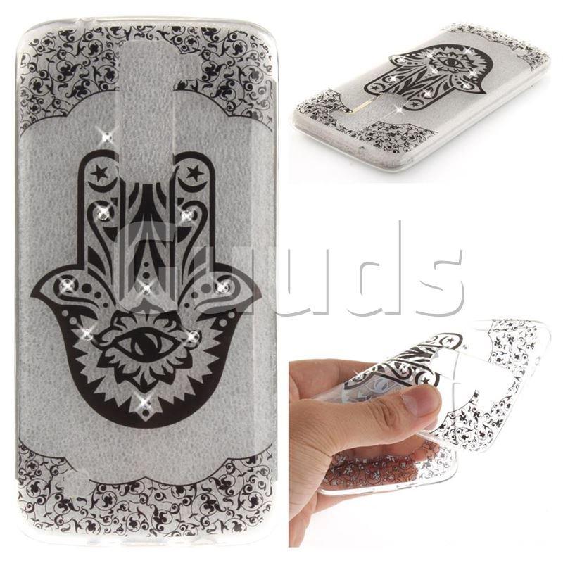 Black Palm Flower Super Clear Diamond Soft TPU Back Cover for LG K8 - TPU Case - Guuds