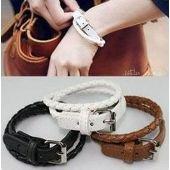 Bracelet femme, cuir, ajustable, marron/noir/blanc sur PriceMinister