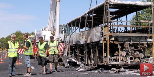 A9 : 39 enfants évacués d'un bus en feu