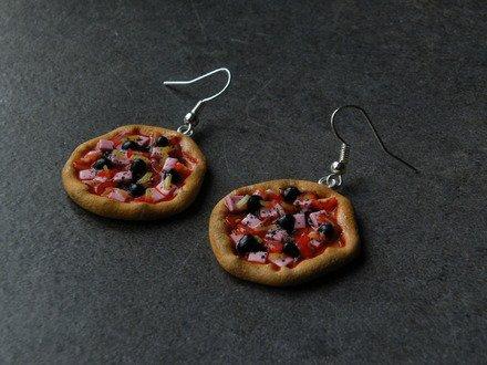 Boucle d'oreille pizza napolitaine en fimo Argent 925