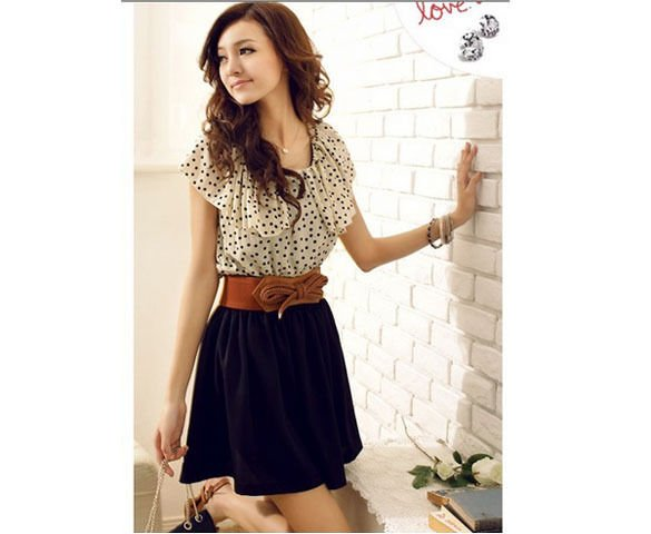 Free Shipping - Women Fashion Short sleeve Dots Polka Mini Summer Chiffon Dress with a gift