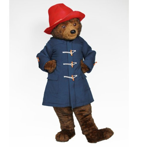 Hot movie Long Plush Paddington Bear with Blue Outfits Mascot costume Fancy Dress For Adult Halloween Parties