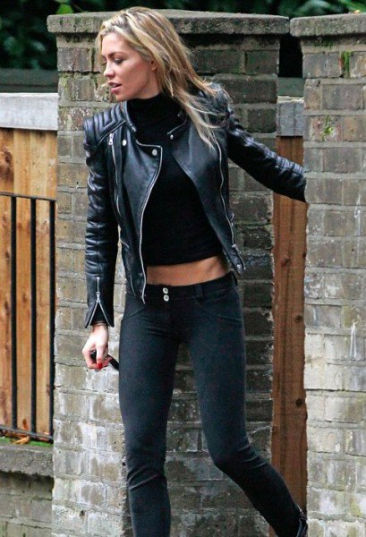 Abbey Clancy Black Leather Jacket