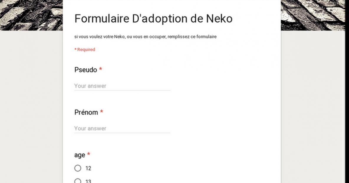 Formulaire D'adoption de Neko