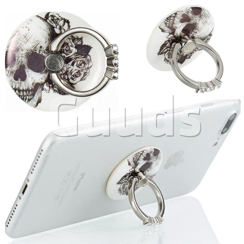 Flexible Universal 360 Rotation Stylish Holder Finger Ring Kickstand for Mobile Phone Folding - Skull Flower - Finger Kickstand - Guuds