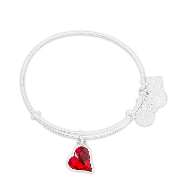 Heart of Strength Charm Bangle - (RED)