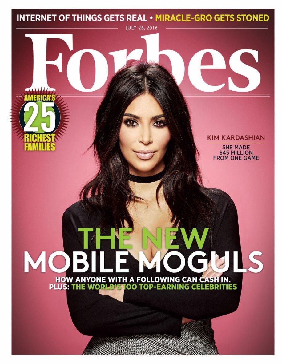 KIM Kardashian A 35 ANS fait la  couverture du célèbre magazine financier Forbes