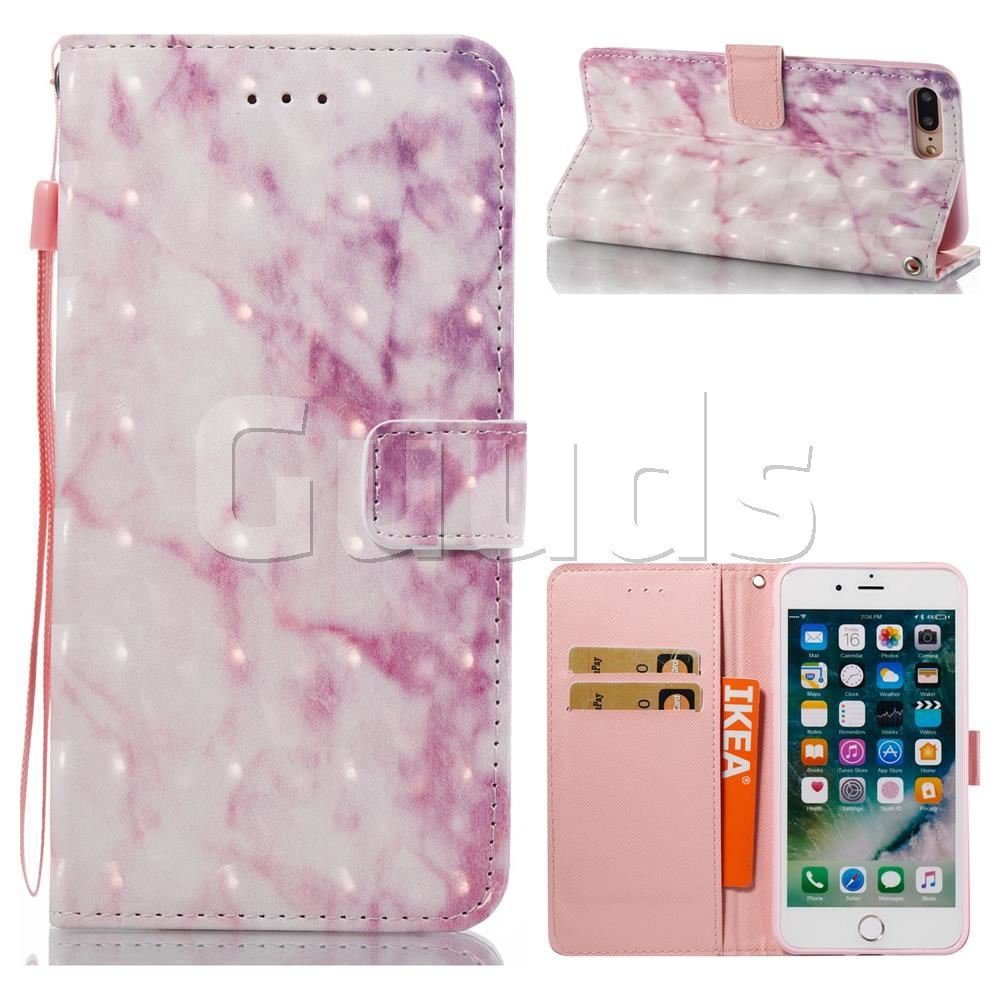 Pink Marble 3D Painted Leather Wallet Case for iPhone 7 Plus 7P(5.5 inch) - Leather Case - Guuds