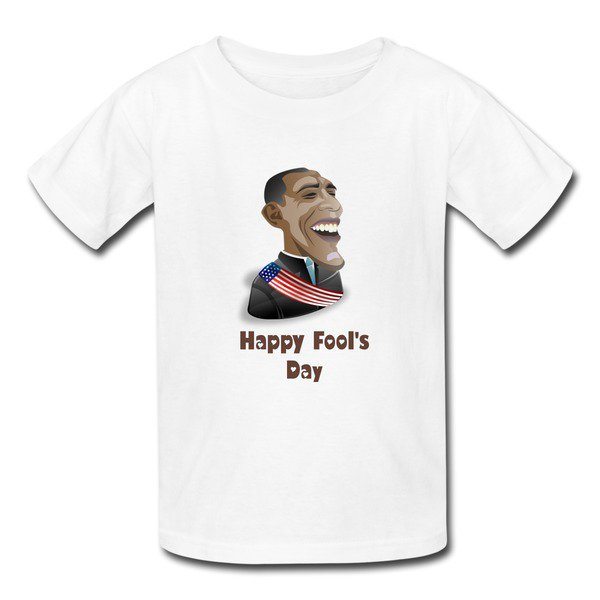 Make Your Own Cartoon Obama White 7600b T-shirt For Kid No Minimums-Funny T-shirts |HICustom