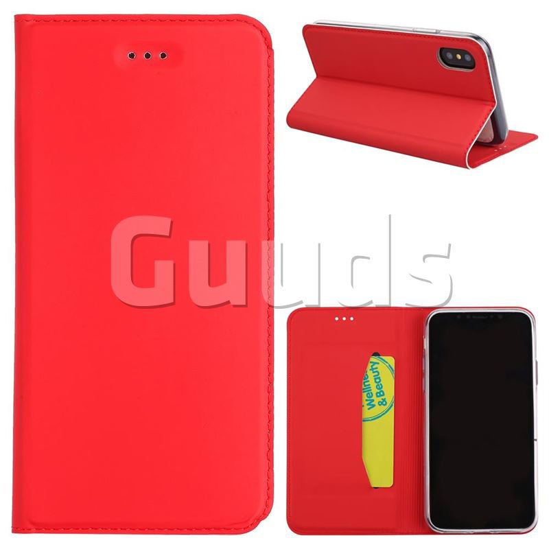 Ultra Slim Automatic Suction Leather Wallet Case for iPhone X(5.8 inch) - Red - Leather Case - Guuds