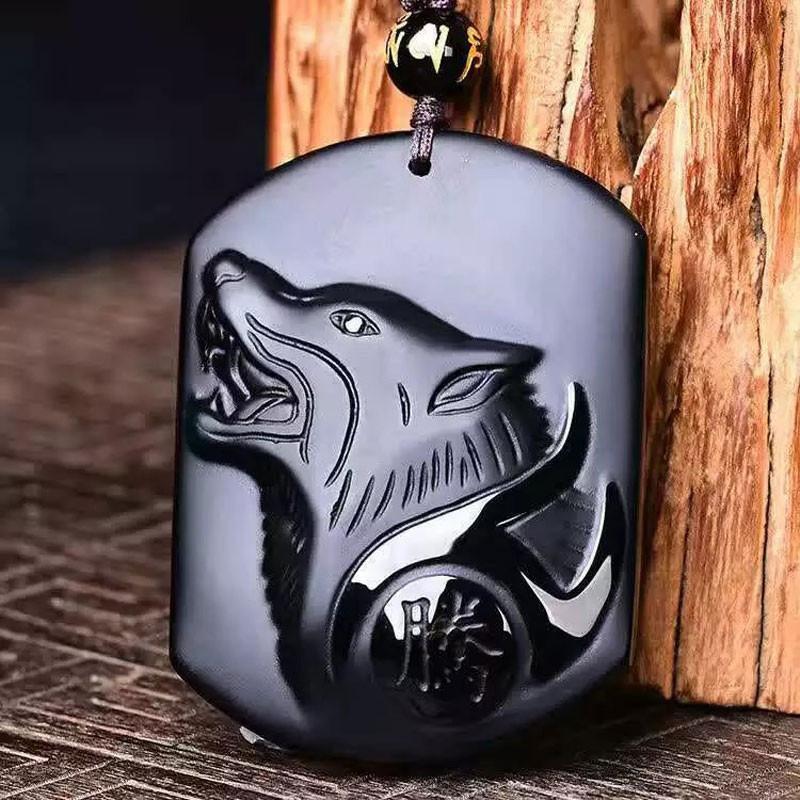Black Obsidian Wolf Necklace