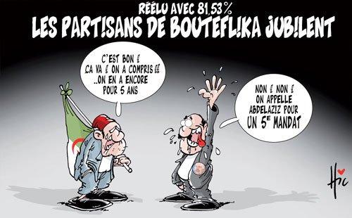 Réélu avec 81,53%: Les partisans de Bouteflika jubilent | Caricatures et humour | Gagdz.com