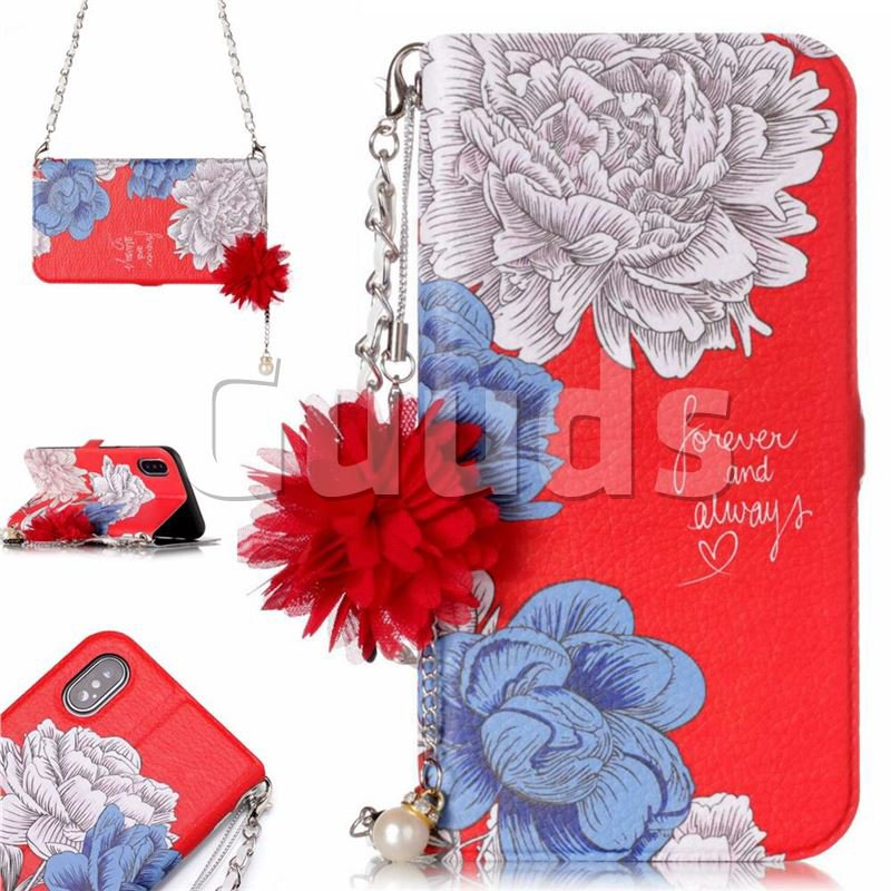 Red Chrysanthemum Endeavour Florid Pearl Flower Pendant Metal Strap PU Leather Wallet Case for iPhone X(5.8 inch) - Leather Case - Guuds