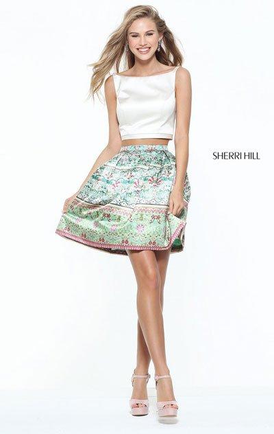 Bateau Neck Sherri Hill 50855 Ivory Two Piece 2017 Satin Short Print Homecoming Dresses [Ivory Sherri Hill 50855] - $210.00 : 2017 Homecoming Dress Custom,Prom Dresses Outlet,Dresses Styles 2018