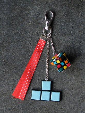 Bijoux de sac thème du jeux en fimo