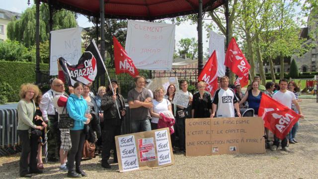 Manifestation à Lisieux. Cortège en mémoire de Clément Méric
