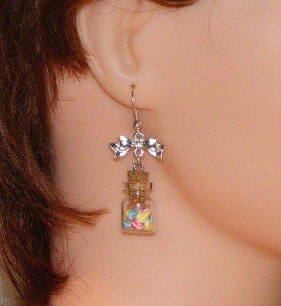 Boucle d'oreille fiole avec berlingots en fimo Argent 925