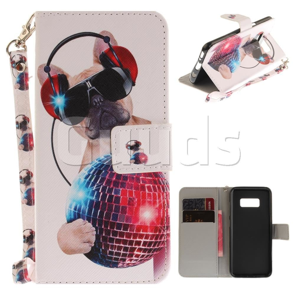 Fashion Dog Hand Strap Leather Wallet Case for Samsung Galaxy S8 Plus S8