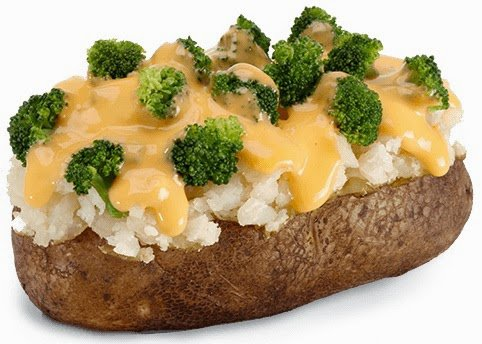 Delicious Foods: Baked Potato with Broccoli and Cheese.