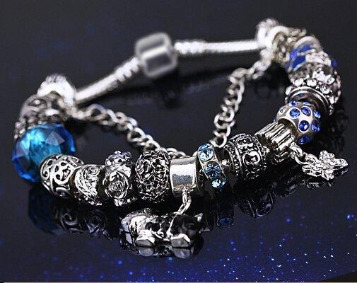 Bleu Coloured glaze fashion petite amie cadeaux femme bracelet 19cm+8cm