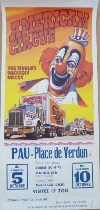 A vendre / On sale : Affichette AMERICAN CIRCUS années 80- Pau