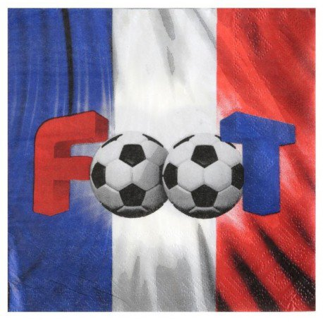 Serviettes de table Champion du monde Foot papier : Serviettes Foot