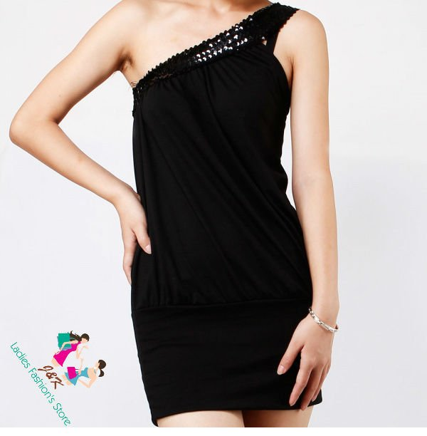 TC | Free Shipping: ( Black ) Clubwear Cocktail Party One off Shoulder Mini Sleeveless Dress