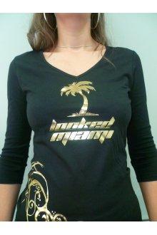 Tshirt femme noir personnalisé modèle 2014 manches mi-longues - lOOked MIAMI