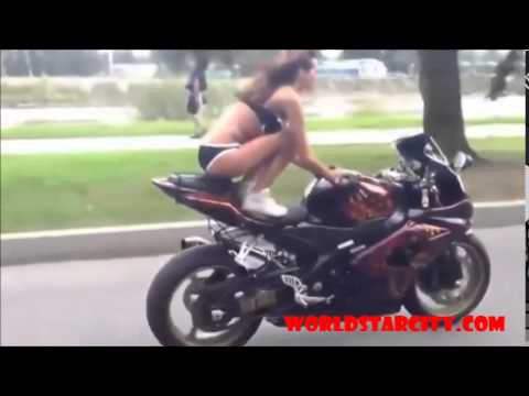 Girl On Street Bike Amazing Hands Free Stunt