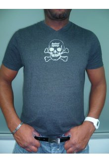 """T-shirt gris / argent personnalisé """"tête de mort"""" - lOOked MIAMI"""