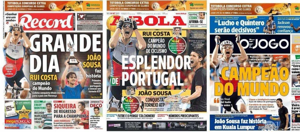 les titres des journaux portugais dans le sport