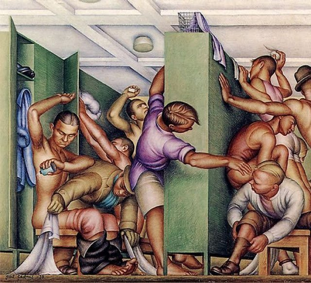 Boy Box Rebellion: YMCA Locker Room (1934) by Paul Cadmus (1904-1999)