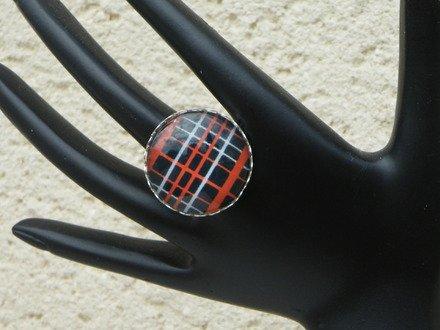 Bague réglable cabochon verre tissus écossais : Bague par jl-bijoux-creation
