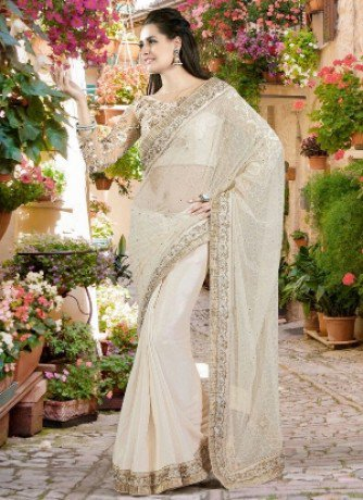 Chiffon Embroidered Work Saree With Blouse