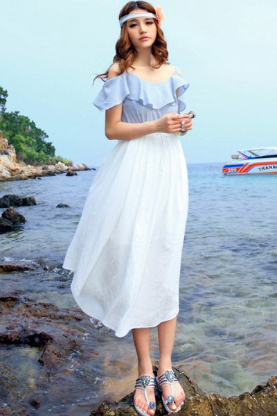 Flounced Cape Chiffon Maxi Dress - OASAP.com