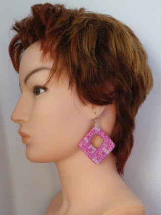 Boucle d'oreille créole rectangulaire en fimo Argent 925